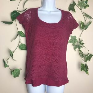 Lucky brand large maroon lace t-shirt